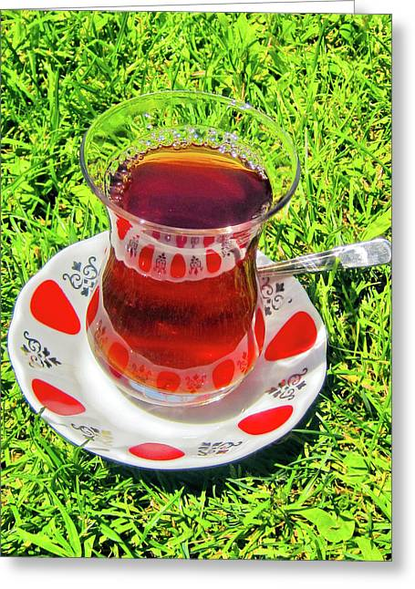 about LOVE. Turkish tea. Greeting Card by Andy Za
