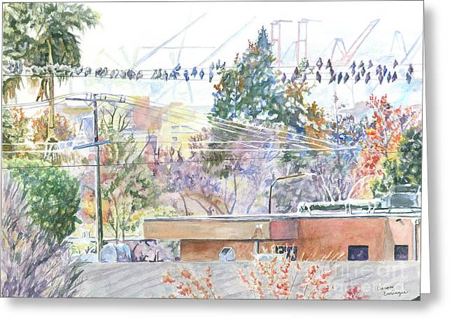 Above Berkeley Bowl Greeting Card by Aaron Eminger