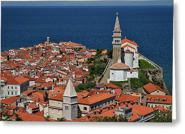 Above Piran - Slovenia Greeting Card