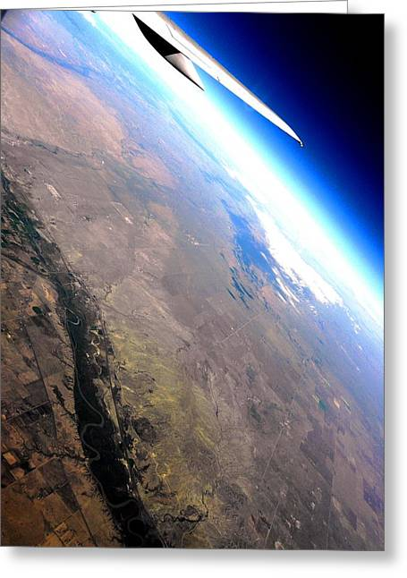Space-plane Greeting Cards - Above the Earth Greeting Card by Elizabeth Hoskinson