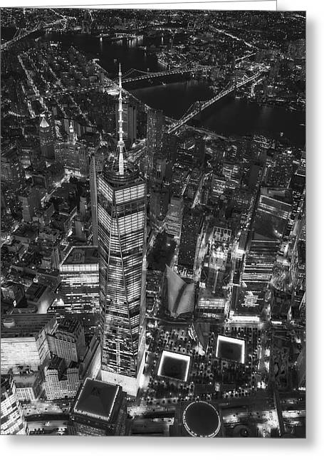 Above The Freedom Tower Wtc Bw Greeting Card
