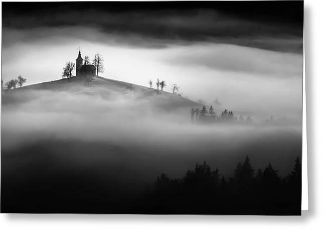 Above The Mist Greeting Card by Sandi Bertoncelj