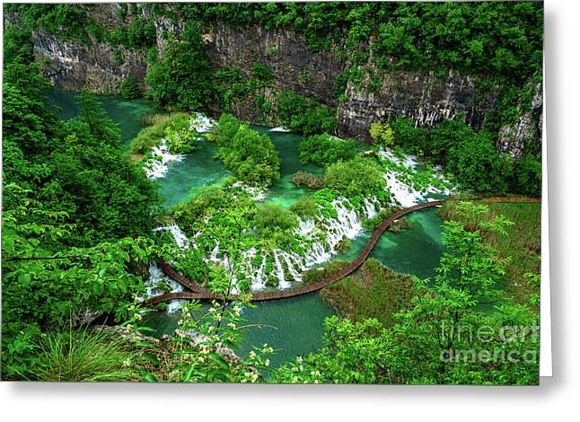 Above The Paths And Waterfalls At Plitvice Lakes National Park, Croatia Greeting Card