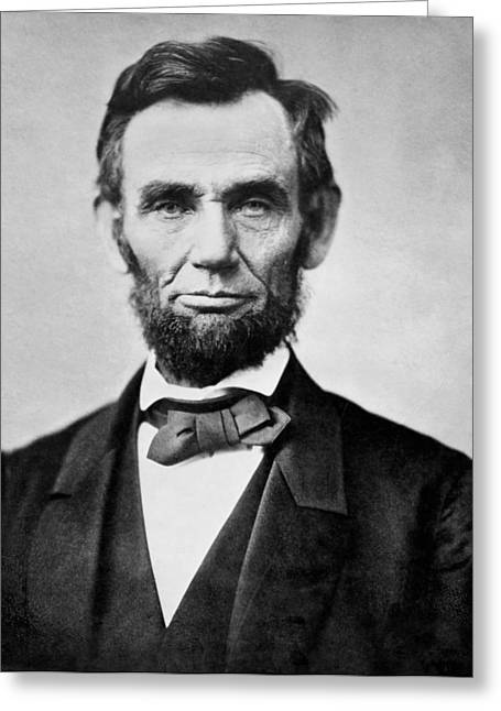 Lincoln Photographs Greeting Cards - Abraham Lincoln -  portrait Greeting Card by International  Images