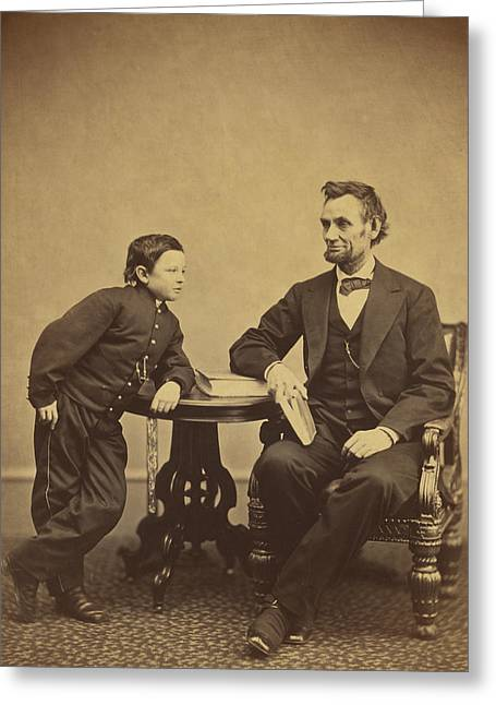 Abraham Lincoln And His Son Thomas Greeting Card by Alexander Gardner