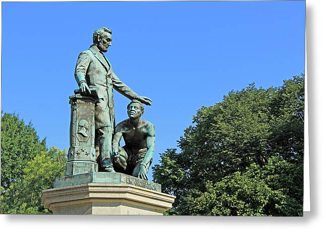 Abraham Lincoln Freeing A Slave At The Emancipation Memorial -- 1 Greeting Card