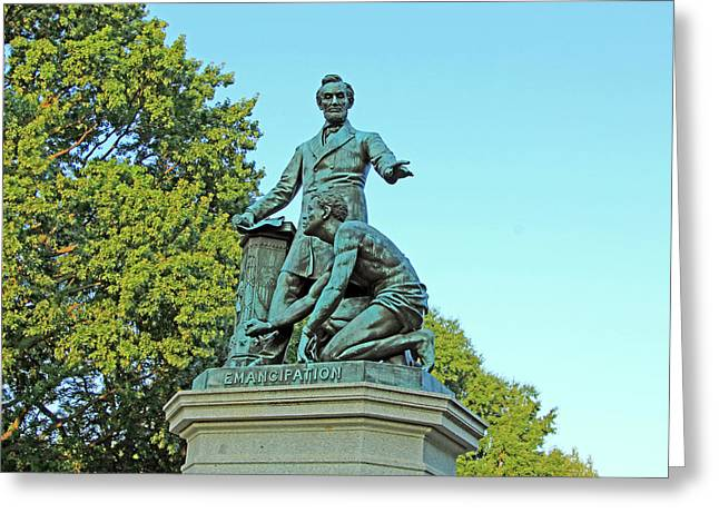 Abraham Lincoln Freeing A Slave At The Emancipation Memorial -- 2 Greeting Card