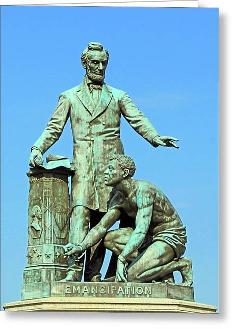 Abraham Lincoln Freeing A Slave At The Emancipation Memorial -- 3 Greeting Card