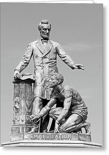 Abraham Lincoln Freeing A Slave At The Emancipation Memorial -- 4 Greeting Card