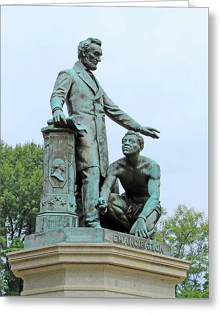 Abraham Lincoln Freeing A Slave At The Emancipation Memorial -- 5 Greeting Card