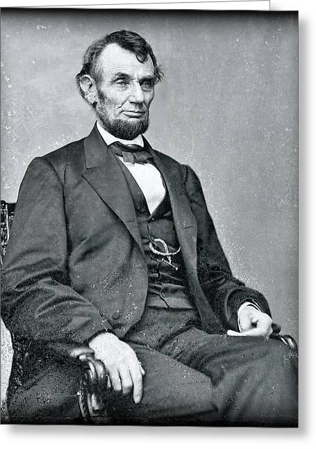 Abraham Lincoln Glass Negative Greeting Card by Daniel Hagerman