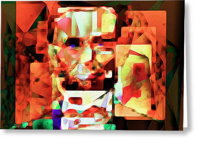 Abraham Lincoln In Abstract Cubism 20170327 Square Greeting Card by Wingsdomain Art and Photography