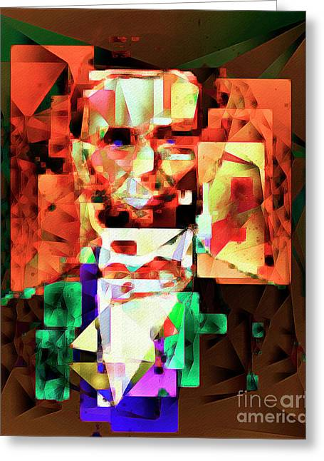 Abraham Lincoln In Abstract Cubism 20170327 Greeting Card by Wingsdomain Art and Photography
