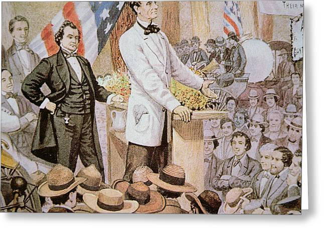 Abraham Lincoln In Public Debate With Stephen A Douglas In Illinois, 1858  Greeting Card