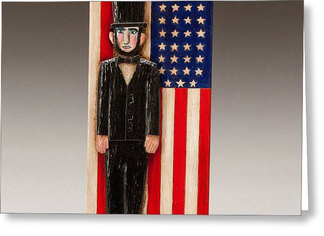 United States Reliefs Greeting Cards - Abraham Lincoln Greeting Card by James Neill