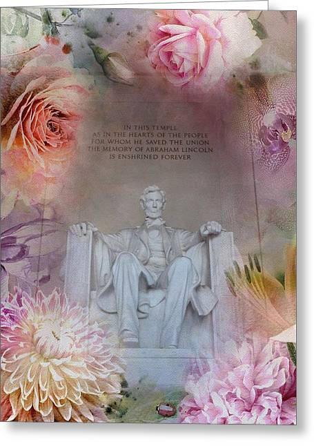 Abraham Lincoln Memorial At Spring Greeting Card by Marianna Mills