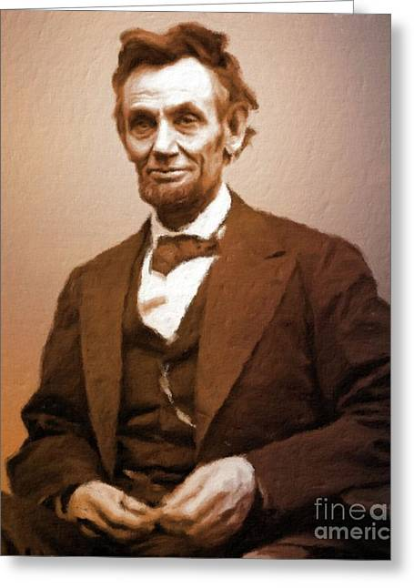 Abraham Lincoln, President Of The Usa By Mary Bassett Greeting Card by Mary Bassett