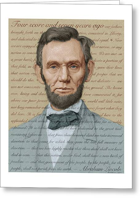 Abraham Lincoln - Soft Palette Greeting Card by Swann Smith