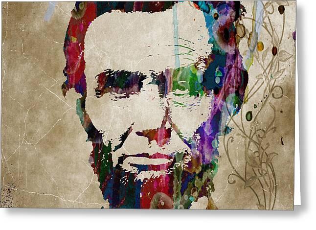 Abraham Lincoln Watercolor Modern Abstract Pop Art Color Greeting Card by Robert R Splashy Art Abstract Paintings