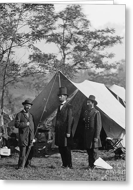 Abraham Lincoln With Allan Pinkerton And Major General Mcclernand At Antietam, 1862 Greeting Card