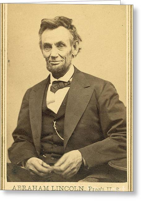Abraham Lincolns Last Portrait Sitting Greeting Card by Science Source