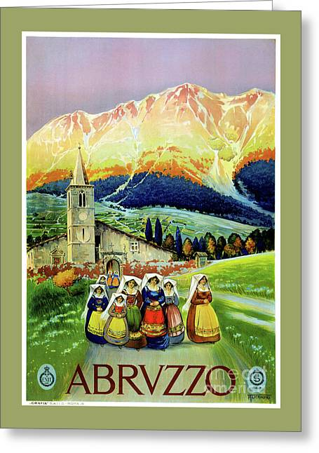 Abruzzo Vintage Travel Poster Restored Greeting Card