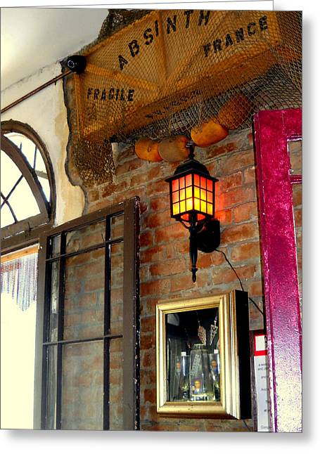 Absinthe Bar Greeting Card by Ted Hebbler