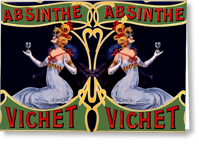 Absinthe Lady Ad Greeting Card by Marianne Dow