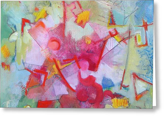 Abstract 2 With Inscribed Red Greeting Card by Susanne Clark