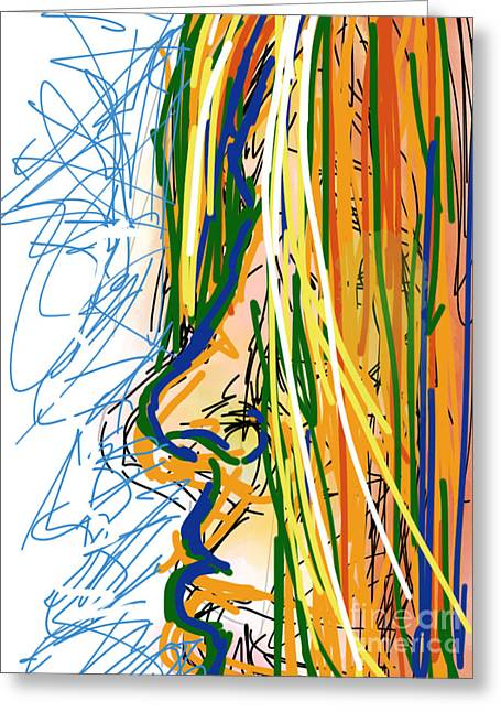 Abstract 44 Profile Of A Woman Greeting Card by Robert Yaeger