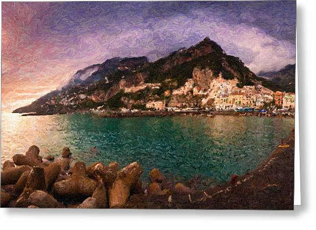 abstract  Amalfi Sea Seaside Greeting Card by Celestial Images