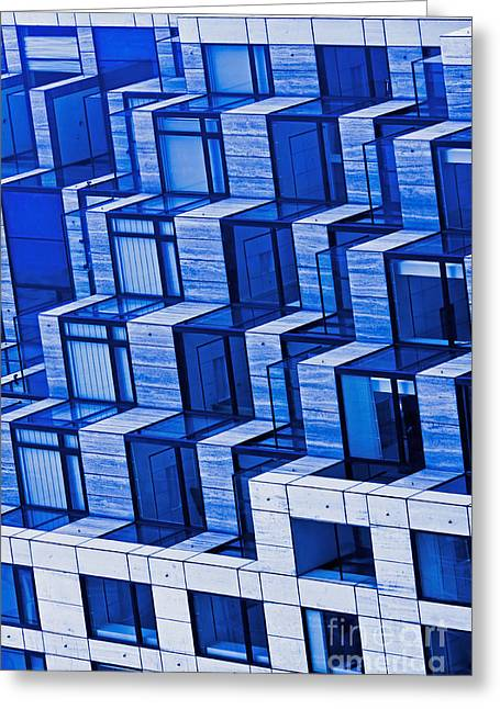 Abstract Architecture In Blue Greeting Card by Mark Hendrickson