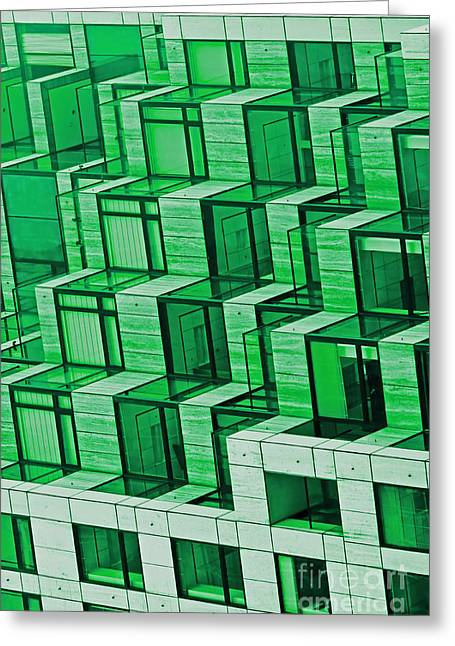 Abstract Architecture In Green Greeting Card by Mark Hendrickson