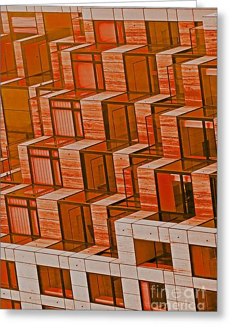 Abstract Architecture In Red Greeting Card by Mark Hendrickson