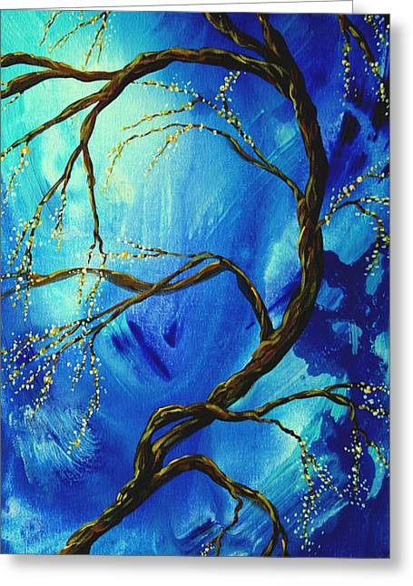 Licensor Greeting Cards - Abstract Art Asian Blossoms Original Landscape Painting BLUE VEIL by MADART Greeting Card by Megan Duncanson