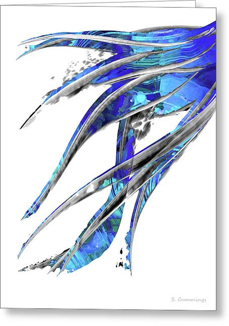 Abstract Art Blue And White - Flowing 5 - Sharon Cummings Greeting Card