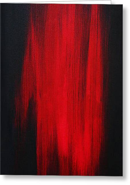 Abstract Art Colorful Original Painting Winter Passion - Red By Madart Greeting Card by Megan Duncanson