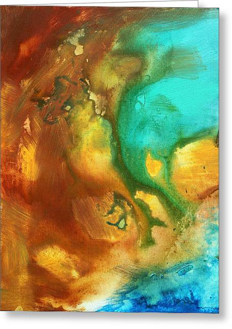 Abstract Art Colorful Turquoise Rust River Of Rust I By Madart  Greeting Card by Megan Duncanson
