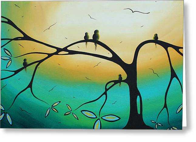 Abstract Art Landscape Bird Painting Family Perch By Madart Greeting Card