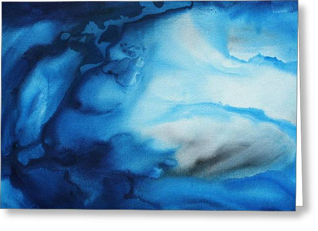 Scuba Diving Greeting Cards - Abstract Art Original Blue Pianting UNDERWATER BLUES by MADART Greeting Card by Megan Duncanson