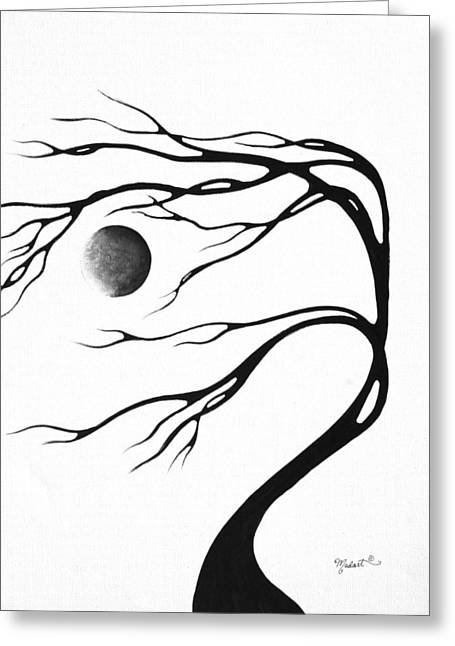 Abstract Art Original Decorative Painting Moon Song By Madart Greeting Card