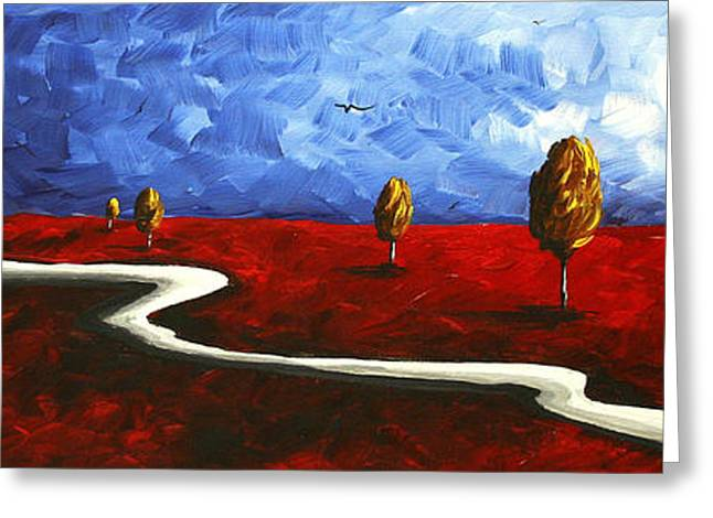 Abstract Art Original Landscape Painting Winding Road By Madart Greeting Card
