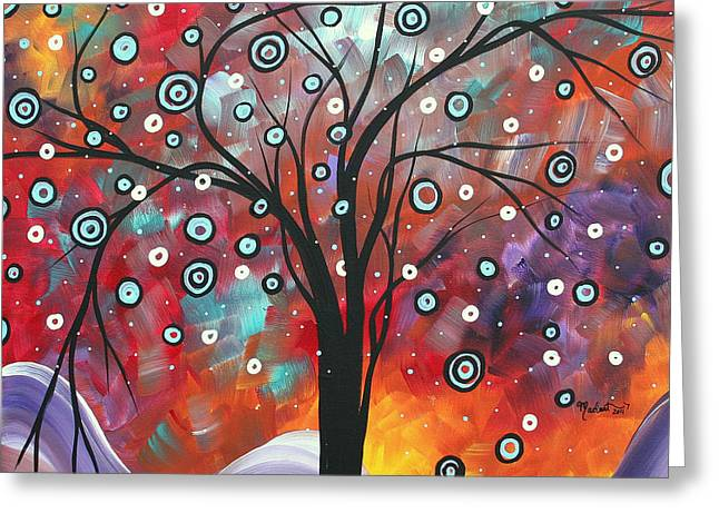 Abstract Art Original Landscape Snow Fall By Madart Greeting Card by Megan Duncanson