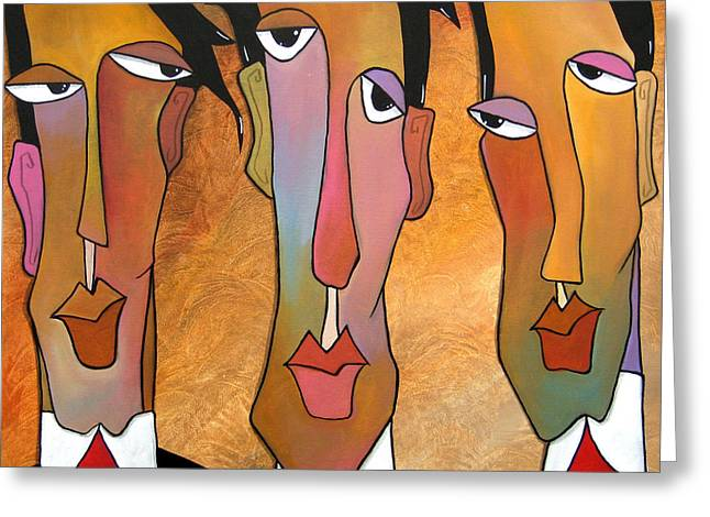 Abstract Art Original Painting - Mad Men Greeting Card by Tom Fedro - Fidostudio
