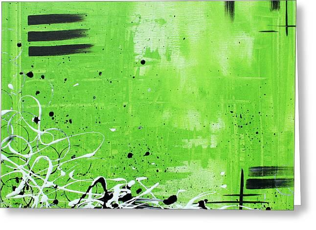 Abstract Art Original Painting Green Dreams By Madart Greeting Card by Megan Duncanson