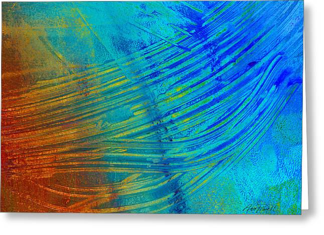 Abstract Art  Painting Freefall By Ann Powell Greeting Card
