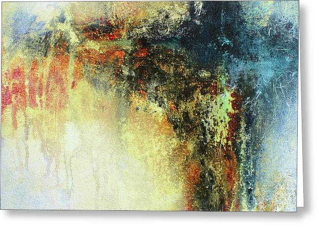 Teals And Warm Tones Abstract Painting Greeting Card by Patricia Lintner