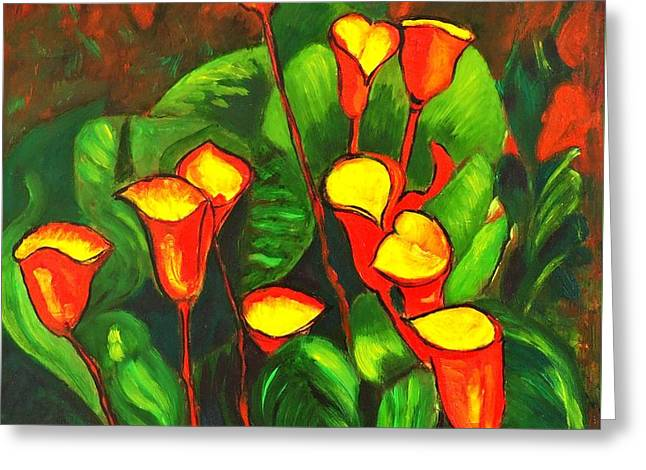 Abstract Arum Lilies Greeting Card