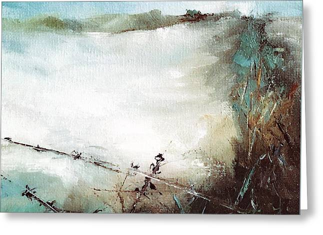 Abstract Barbwire Pasture Landscape Greeting Card