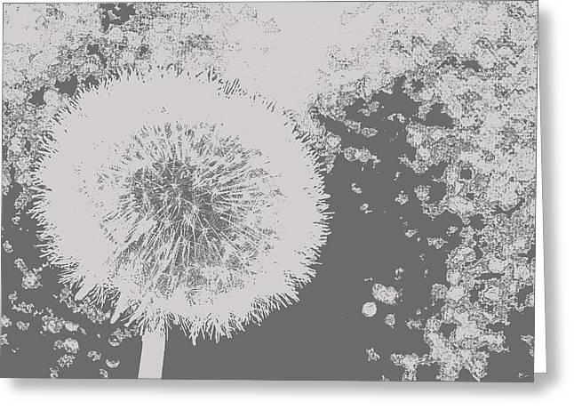 Abstract Black And White Dandelion Photo Art Greeting Card